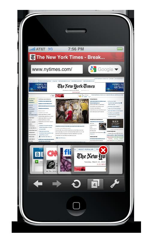 iPhone için Opera Mini Sekmeler
