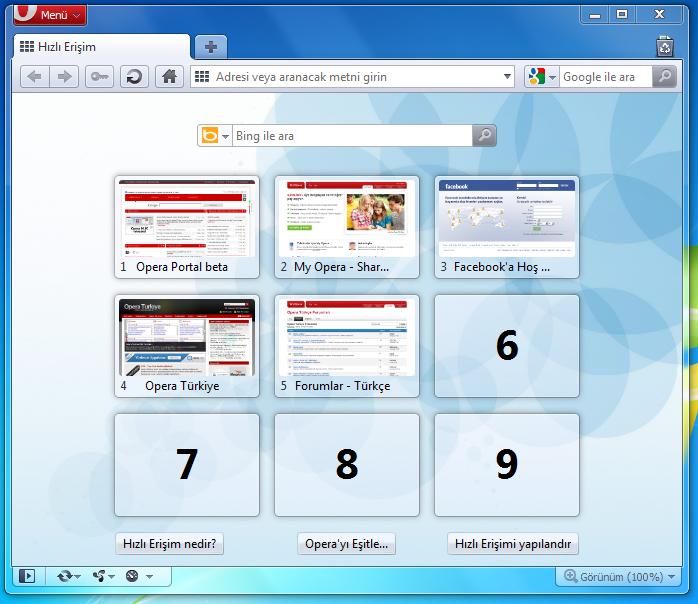 Opera 10.6 Genel Görünüm